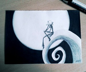 black and white, jack skellington, and drawing image