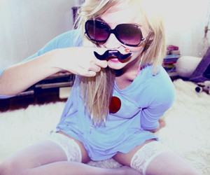 girl, blonde, and mustache image