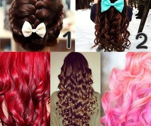 bow, brown, and curls image