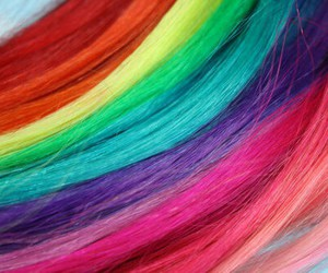 colors, hair, and rainbow image