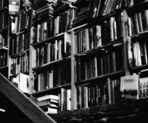 black and white, books, and header image