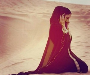hijab, desert, and muslim image
