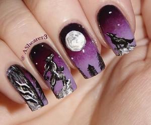 nails, Halloween, and moon image