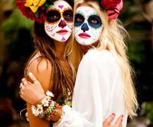 Halloween, friends, and flowers image