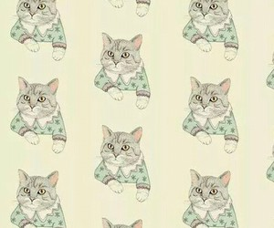 cat, wallpaper, and vintage image