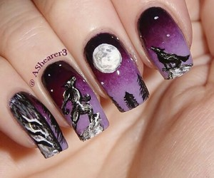 nails, Halloween, and moon image