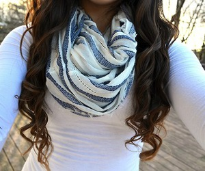 scarf, hair, and white image