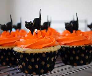 Halloween, cupcake, and cat image