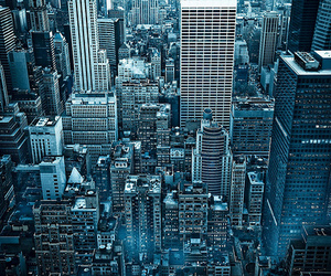 city, blue, and photography image