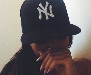 girl, nails, and cap image
