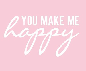 happy, quote, and pink image