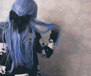 asian fashion, blue, and blue hair image