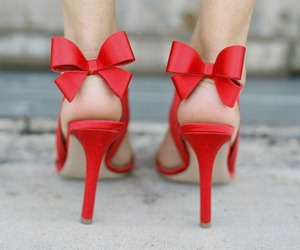 red, shoes, and bow image