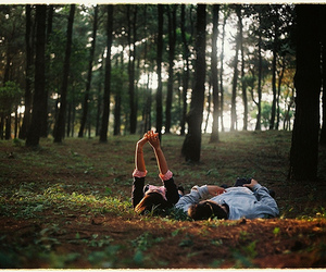 love, couple, and forest image