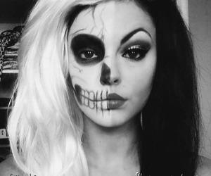 black and white, dark, and girl image