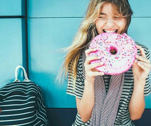 girl, donut, and food image