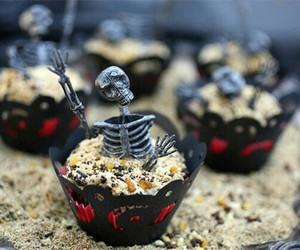 Halloween, cupcake, and skeleton image
