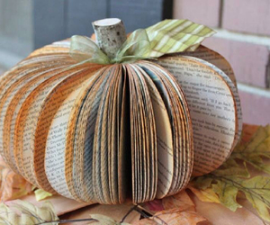 book, pumpkin, and fall image