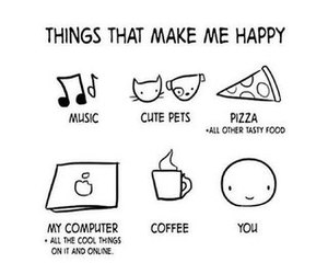 happy, pizza, and coffee image
