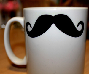 mustache, moustache, and cup image