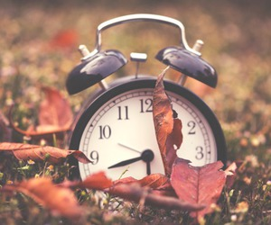 autumn, clock, and leaves image