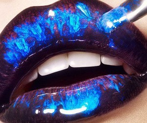 lips, blue, and makeup image