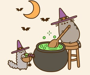 cat, Halloween, and pusheen image