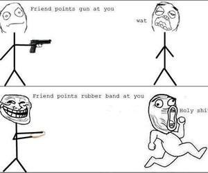 funny, friends, and gun image