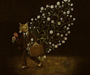 flower, fox, and suitcase image