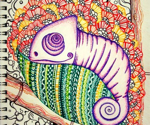 art, chameleon, and coloring image