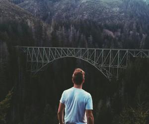 nature, boy, and bridge image