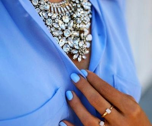 fashion, blue, and necklace image