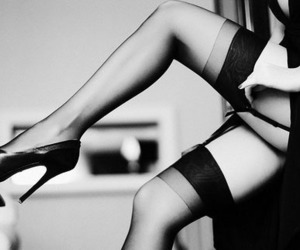 black & white, girl, and heels image