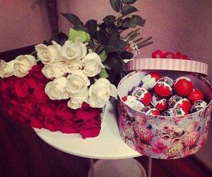 rose, chocolate, and flowers image