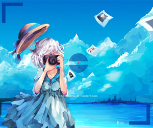 anime girl, anime girl with camera, and anime girl in blue dress image