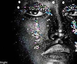 eyes, girl, and glitter image