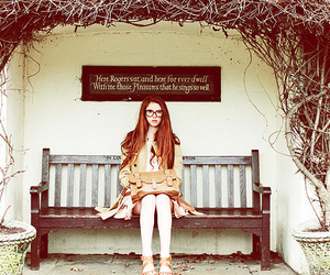 bench, girl, and glasses image