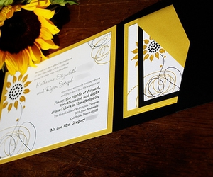 invitation, letterpress, and yellow image