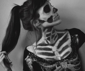 girl, skeleton, and Halloween image
