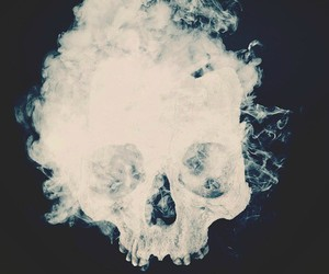 skull, smoke, and black image