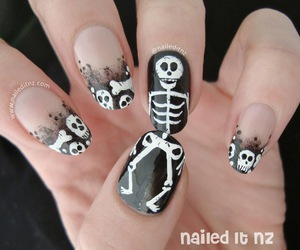 skull, Halloween, and nails image