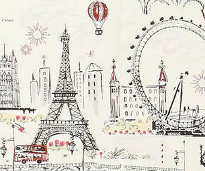 city, cartoon, and paris image