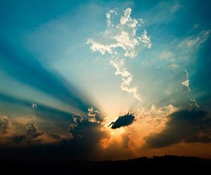clouds, landscape, and sunset image