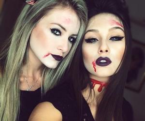 Halloween, girls, and makeup image