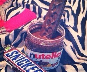 chocolate, nutella, and snickers image