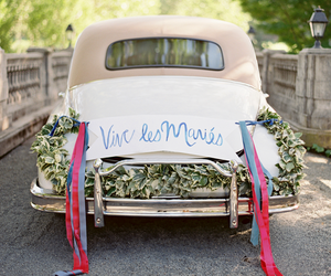 car, flowers, and wedding image
