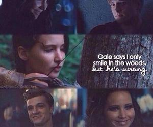 smile, peeta, and katniss image