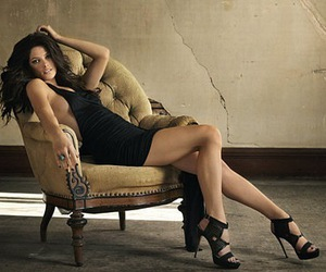 brunette, legs, and chair image