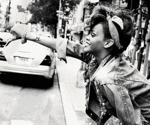 rihanna and black and white image