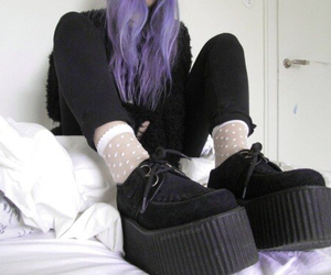 grunge, black, and hair image
